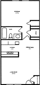 One Bedroom A / One Bath - 595 Sq. Ft.*