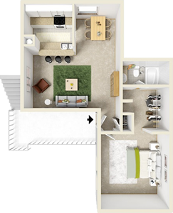 One Bedroom B / One Bath - 695 Sq. Ft.*