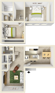 Two Bedroom A / Two Bath - 1,106 Sq. Ft.*