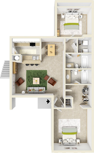 Two Bedroom B / Two Bath - 974 Sq. Ft.*