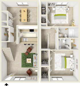 Two Bedroom C / 2.5 Bath - 1,136 Sq. Ft.*