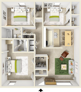 Three Bedroom / Two Bath - 1,136 Sq. Ft.*