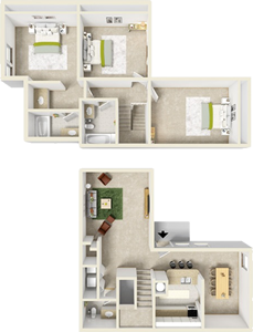 Three Bedroom B / 2.5 Bath - 1,386 Sq. Ft.*